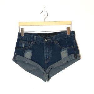 ONE TEASPOON Distressed Jean Shorts Size 24